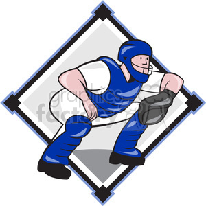 baseball catcher squat catching clipart. Commercial use image # 389946
