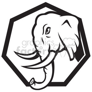 black white elephant head side charge walk clipart. Royalty-free image # 390012