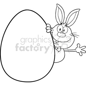 Royalty Free RF Clipart Illustration Black And White Cute Rabbit Cartoon Character Waving Behinde Easter Egg clipart. Commercial use image # 390092