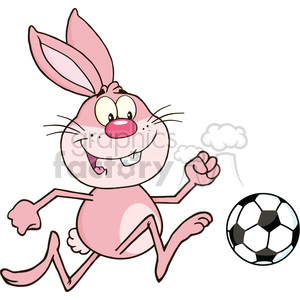 Royalty Free RF Clipart Illustration Cute Pink Rabbit Cartoon Character Playing With Soccer Ball clipart. Commercial use image # 390112