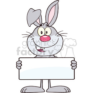 Royalty Free RF Clipart Illustration Funny Gray Rabbit Cartoon Character Holding A Banner clipart. Royalty-free image # 390122