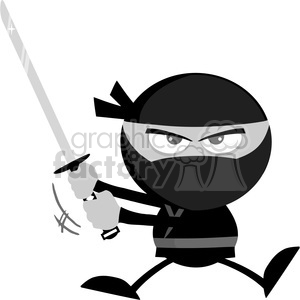 Royalty Free RF Clipart Illustration Angry Ninja Warrior Jumping With Katana Flat Design In Gray Color clipart. Royalty-free image # 390172