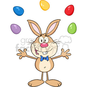 Royalty Free RF Clipart Illustration Cute Brown Rabbit Cartoon Character Juggling With Easter Eggs clipart. Royalty-free image # 390202