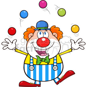 Royalty Free RF Clipart Illustration Funny Clown Cartoon Character Juggling With Balls clipart. Commercial use image # 390232