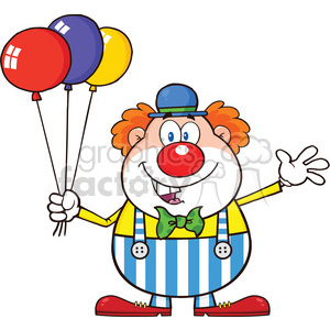 Royalty Free RF Clipart Illustration Funny Clown Cartoon Character With Balloons And Waving clipart. Commercial use image # 390252