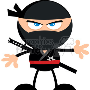 Royalty Free RF Clipart Illustration Angry Ninja Warrior Cartoon Character Flat Design clipart. Royalty-free image # 390262