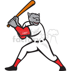baseball hitter bat panther side clipart. Royalty-free image # 390404