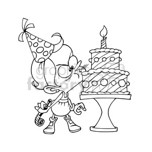 girls birthday party blowing candle outline clipart. Royalty-free image # 390644