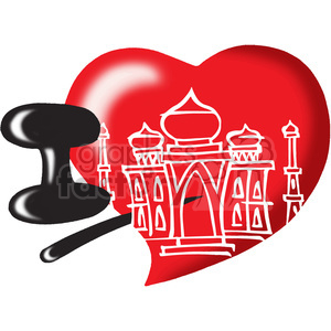 cartoon funny character I love heart Taj Mahal