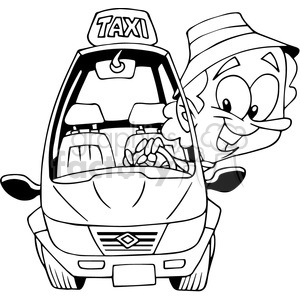 taxi driver cartoon outline clipart. Royalty-free image # 390766