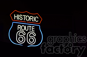 route 66 neon sign left clipart. Royalty-free image # 391025