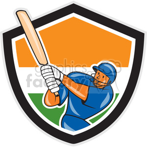 cricket player batting logo shield clipart. Royalty-free image # 391360