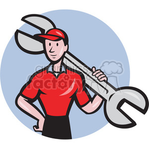 mechanic holding huge wrench clipart. Commercial use image # 391380