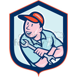 mechanic holding spanner logo shield clipart. Royalty-free image # 391390