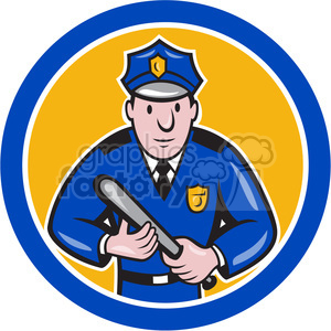 policeman holding club logo clipart. Royalty-free image # 391450