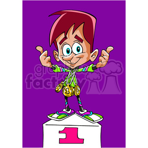 cartoon funny comic comical winner 1st podium win race medal gold
