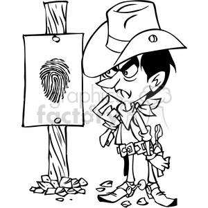 wanted sign western cartoon in black and white clipart. Royalty-free image # 391493