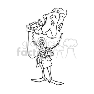 Alexander Graham Bell bw caricature animation. Royalty-free animation # 391726