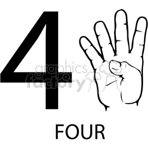 sign+language education numbers hand black+white 4 four