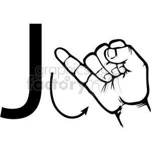 sign+language education letters hand black+white alphabet j