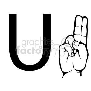 sign+language education letters hand black+white alphabet u