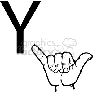sign+language education letters hand black+white alphabet y