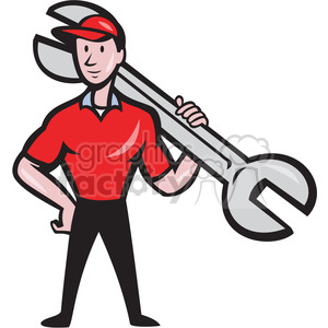 mechanic wrench standing upright shape clipart. Royalty-free image # 392338