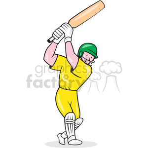 cricket player batting in yellow shape clipart. Commercial use image # 392348