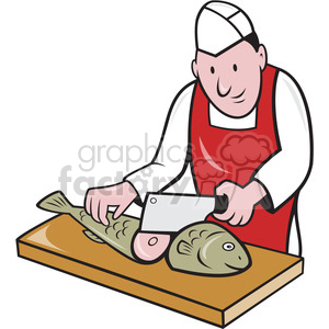 fish monger chop fish 001 shape clipart. Royalty-free image # 392358
