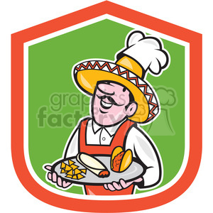 mexican chef plate tacos in shield shape clipart. Royalty-free image # 392378