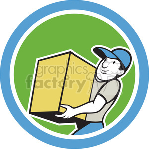 delivery worker holding box side in circle shape clipart. Commercial use image # 392388