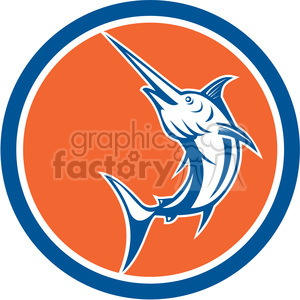 swordfish right view in circle shape clipart. Commercial use image # 392398