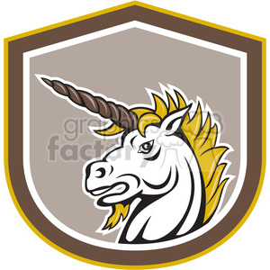 angry unicorn in shield shape clipart. Royalty-free image # 392418