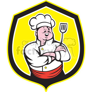chef with spatula in shield shape clipart. Commercial use image # 392438