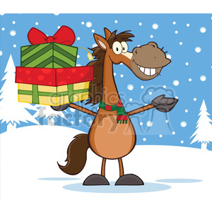 6878_Royalty_Free_Clip_Art_Smiling_Horse_Cartoon_Mascot_Character_Holding_Up_A_Stack_Of_Gifts_Over_Winter_Landscape