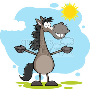 6872_Royalty_Free_Clip_Art_Smiling_Grey_Horse_Cartoon_Mascot_Character_With_Open_Arms_Over_Landscape clipart. Royalty-free image # 393119