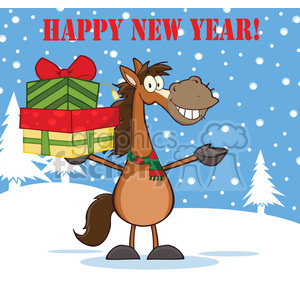 6879_Royalty_Free_Clip_Art_Happy_New_Year_Greeting_With_Horse_Cartoon_Mascot_Character_Holding_Up_A_Stack_Of_Gifts clipart. Royalty-free image # 393129