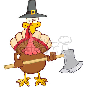 6895_Royalty_Free_Clip_Art_Turkey_With_Pilgram_Hat_And_Axe clipart. Commercial use image # 393139