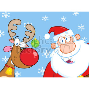 Royalty Free RF Clipart Illustration Happy Reindeer And Santa Claus clipart. Commercial use image # 393151