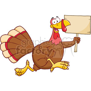 Royalty Free RF Clipart Illustration Happy Turkey Bird Cartoon Character Running With A Blank Wood Sign clipart. Royalty-free image # 393161