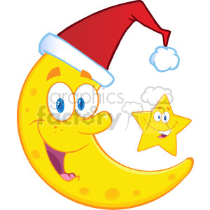 Royalty Free RF Clipart Illustration Smiling Crescent Moon With Santa Hat And Happy Christmas Star Cartoon Characters clipart. Royalty-free image # 393171