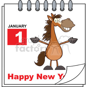 Royalty Free RF Clipart Illustration Happy New Year Calendar With Open Arms Smiling Horse clipart. Royalty-free image # 393181