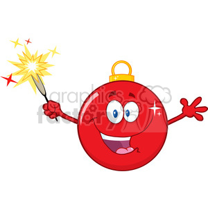 Royalty Free RF Clipart Illustration Happy Red Christmas Ball Cartoon Mascot Character Holding A Sparkler clipart. Royalty-free image # 393198