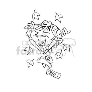 girl dancing in the fall leaves cartoon black white clipart. Commercial use image # 393349