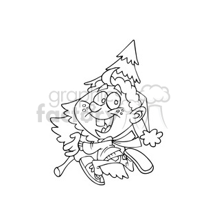 merry christmas kid getting a christmas tree black white clipart. Royalty-free image # 393359