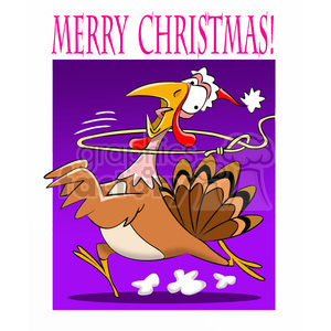 merry christmas turkey getting roped cartoon clipart. Royalty-free image # 393369