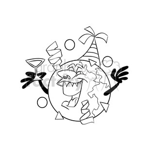 happy new year earth cartoon black white