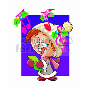 christmas caroler singing clipart. Commercial use image # 393517