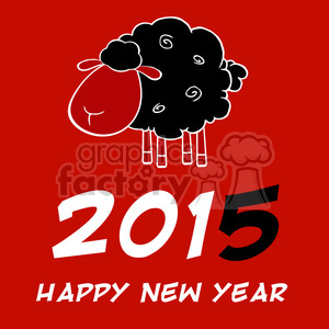Clipart Illustration Happy New Year 2015 Design Card With Black Sheep And Black Number animation. Commercial use animation # 393587