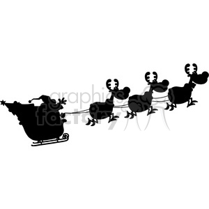 Black Silhouettes Of Santa Claus In Flight With His Reindeer And Sleigh Vector Illustration Isolated On